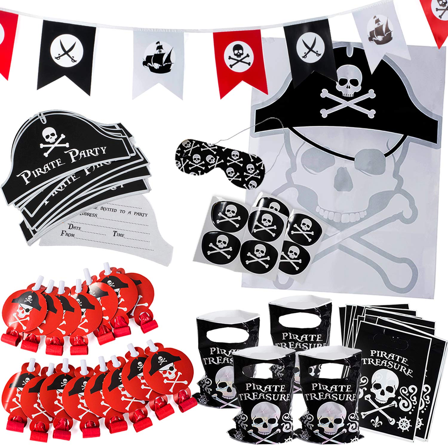 Pirate Party Supplies for Kids Birthday - Set for 12 Guests