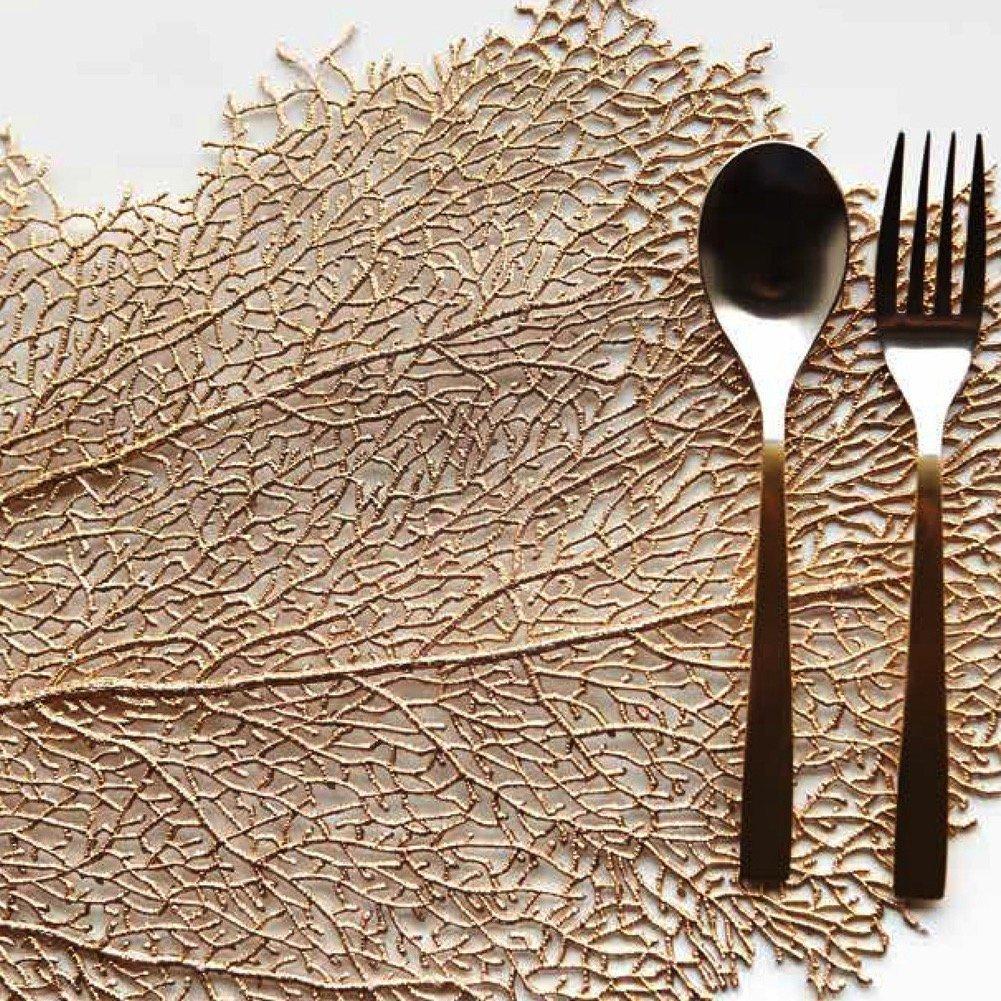 Harman Metallic Leaf Placemat14 x22 Wipes Clean Copper Rose Gold