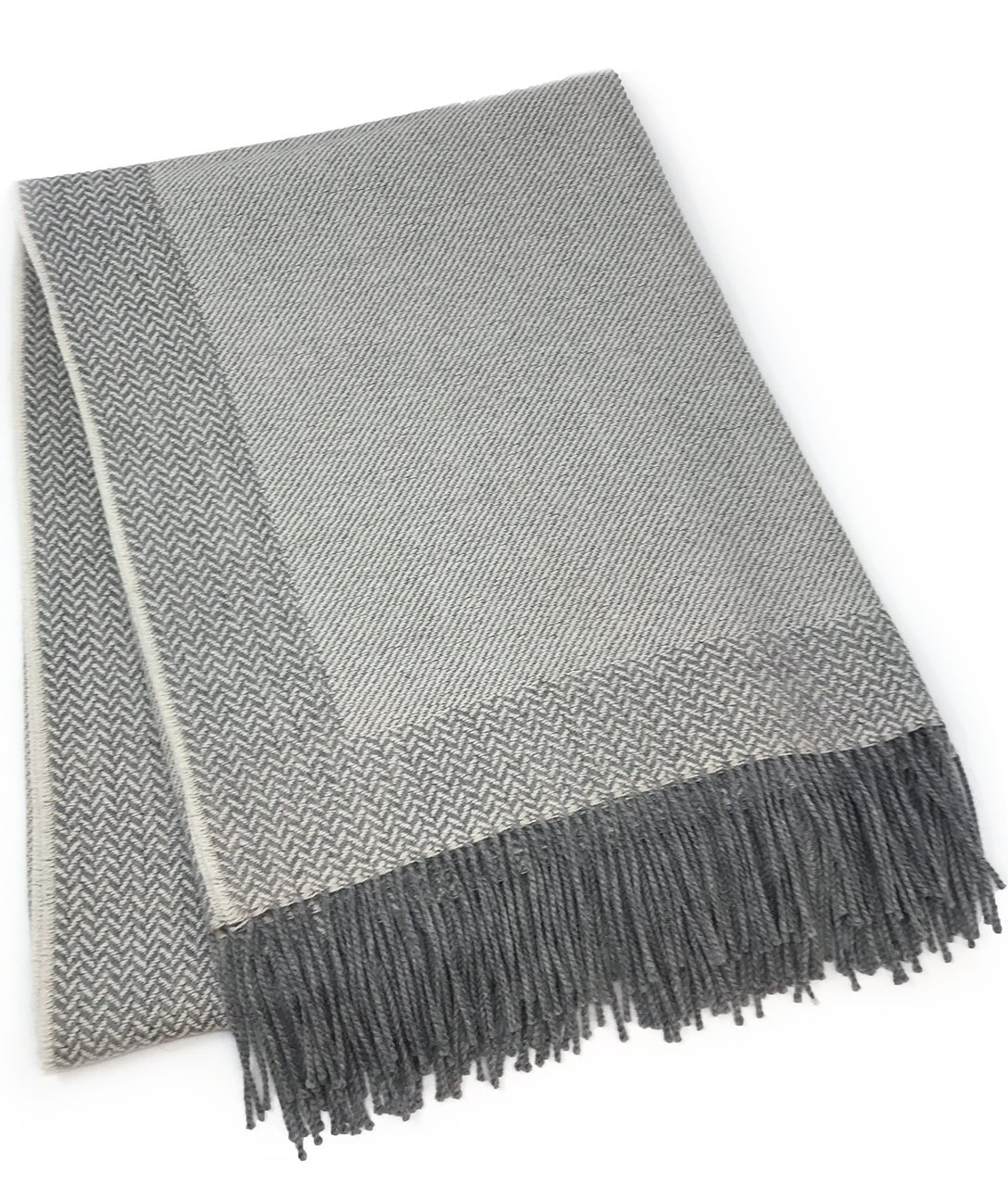 Incredibly Soft 100% Baby Alpaca Wool Sofa Throw Blanket - Woven by Hand, All Natural, Reversible Herringbone Pattern with Fringe Perfect for Bedroom or Living Room (Silver / Bone)