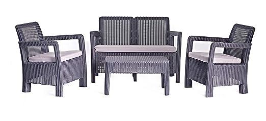 Keter - Conjunto de jardin de 4 plazas Tarifa Lounge con cojines incluidos, Color blanco