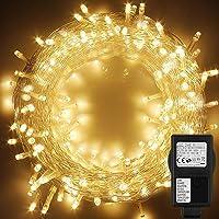 WOWDSGN Guirnarldas Luces Enchufe 25M 200 LED blanco cálido,8 modos de luz regulables,IP44 a prueba de agua,cadena de…
