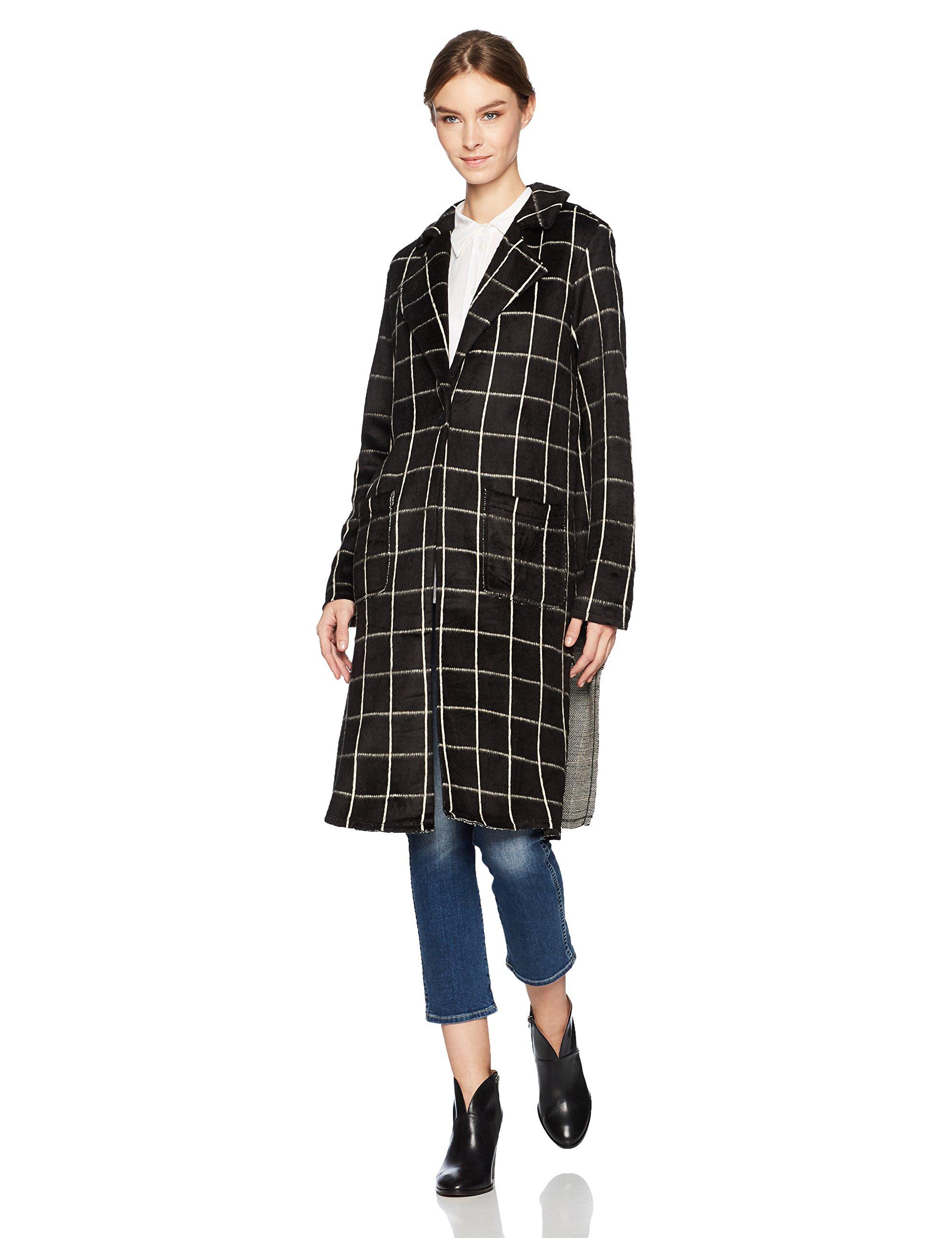 Michael Stars Women's Plaid Long Sleeve High Slit Coat, Black, XS