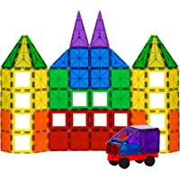Best Choice Products 100 Piece Clear Multi Colors Magnetic Tiles Building Set w/ Car & Carrying Bag