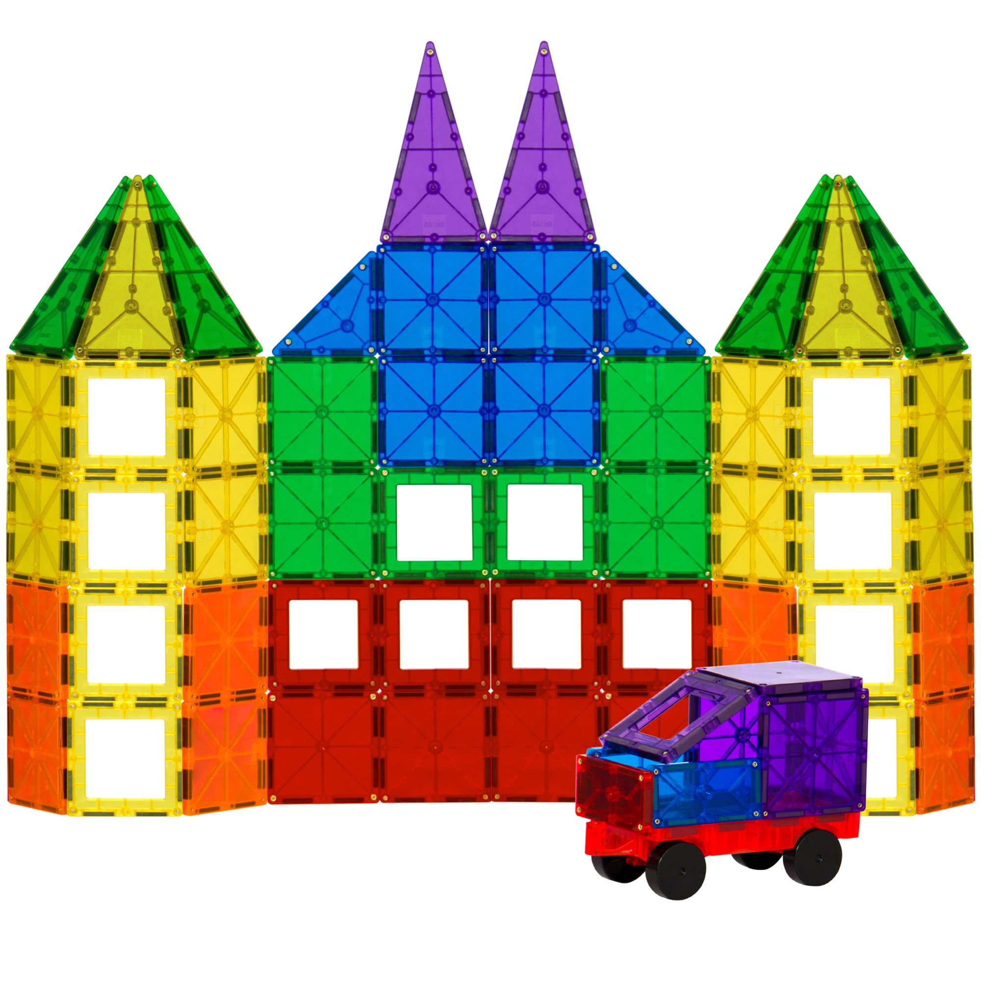 Best Choice Products 100-Piece Transparent Rainbow Magnetic Building Geometric Tiles for Fun, Learning, Creative and Motor Skill Development w/ Wagon and Carrying Case - Multi