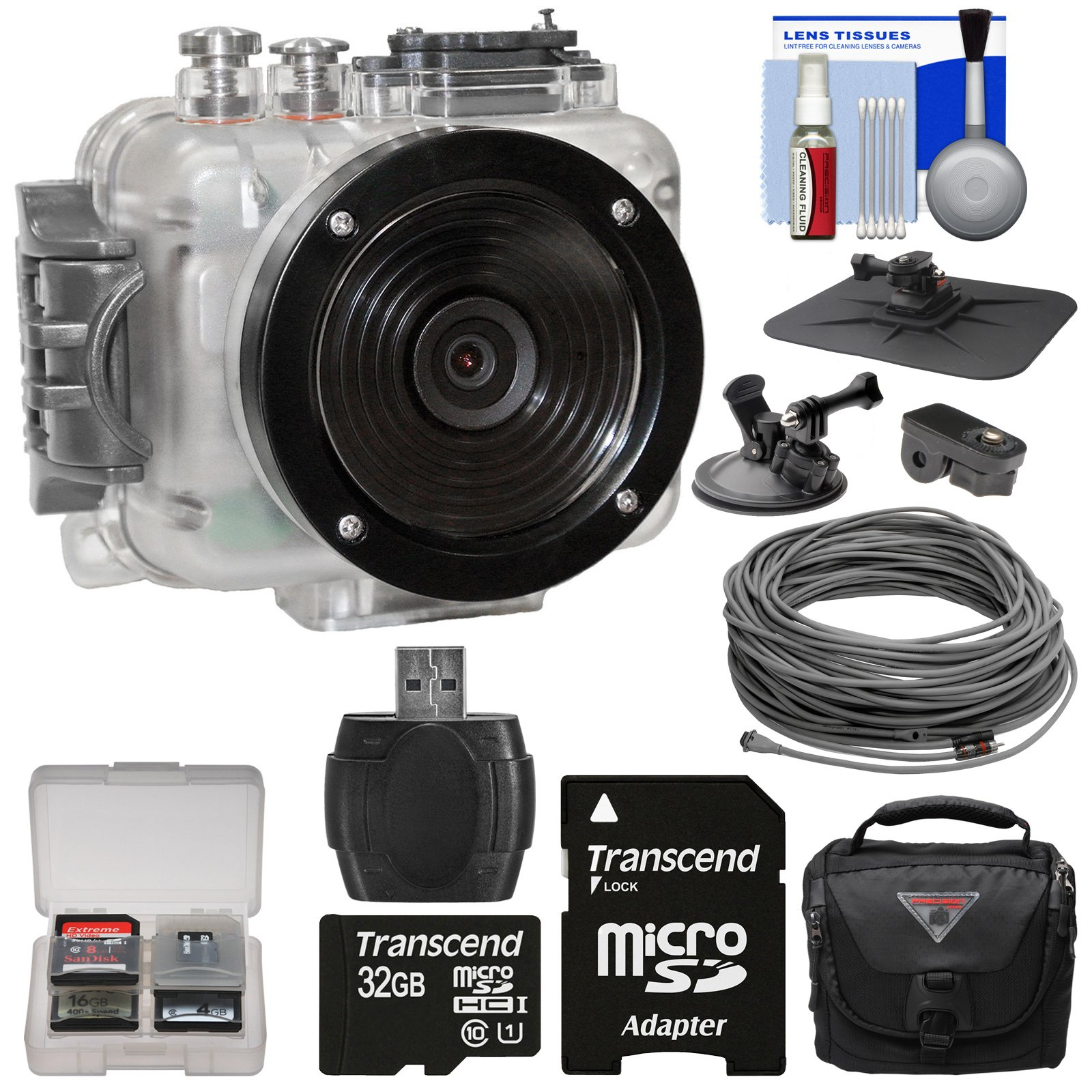 Intova Connex 1080p HD Waterproof Video Action Camera Camcorder (200 ft/ 60m) with Video Cable (40m) + 32GB Card + Car Suction Cup & Dashboard Mounts + Case + Kit