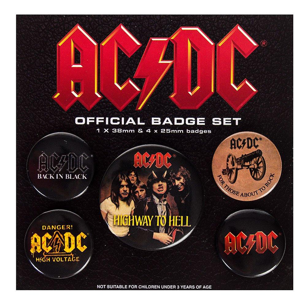 AC/DC Paquet De Badges - Logo, 1 X 38mm & 4 X 25mm Badges (15 x 10 cm)