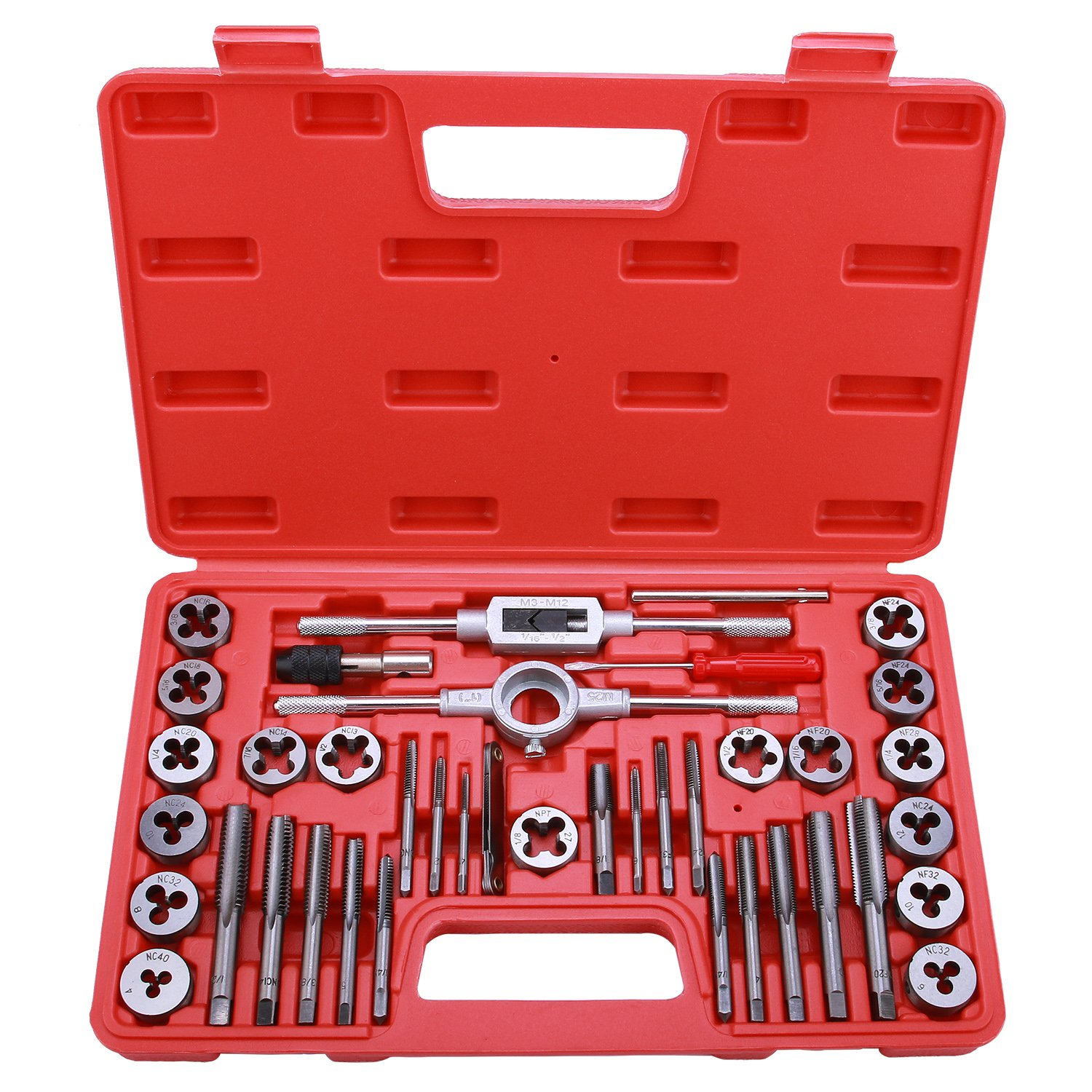 Best Choice 40-Piece Tap and Die Set - SAE Inch Sizes | Essential Threading Tool with Storage Case by EFFICERE