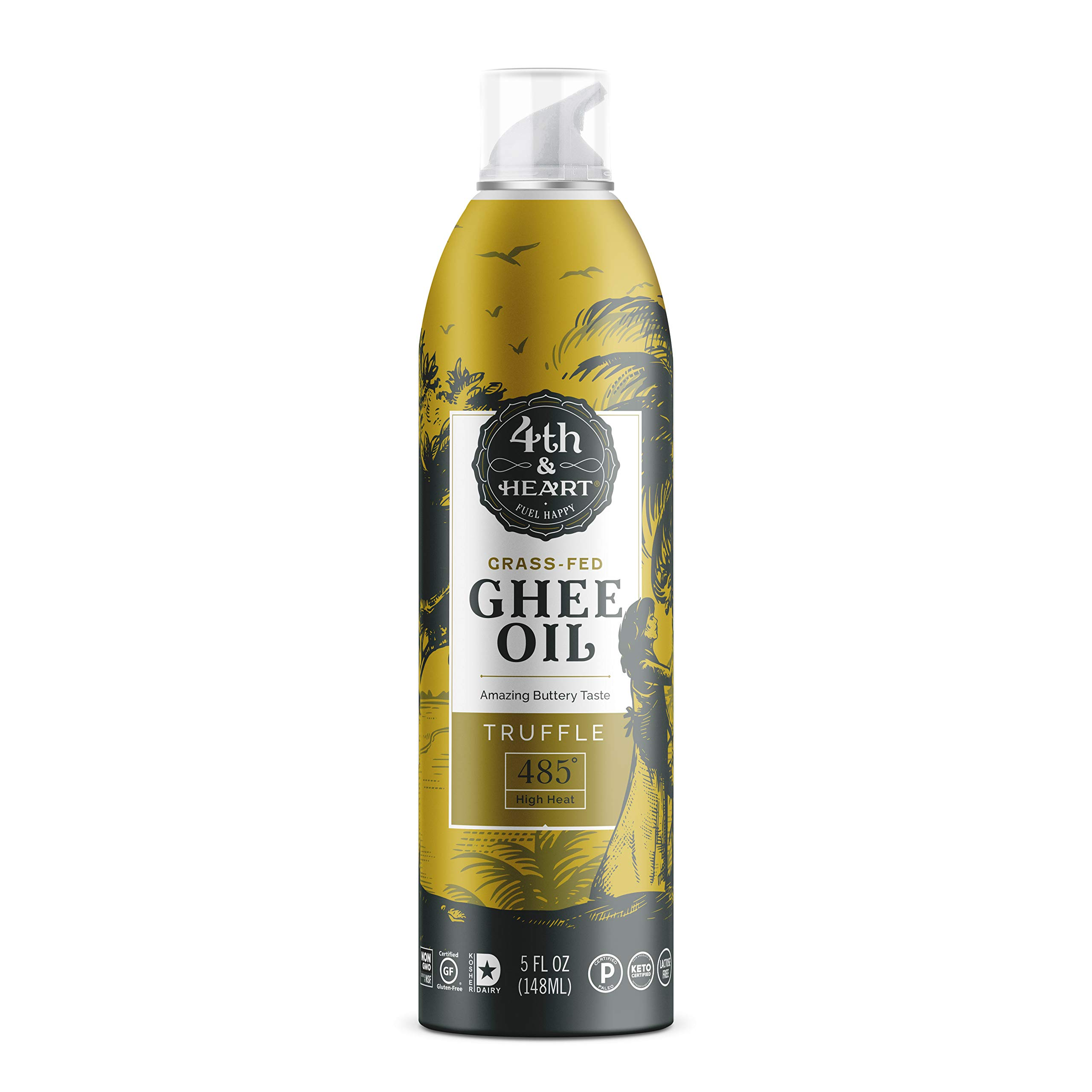 Truffle Grass-Fed Ghee Oil Cooking Spray by 4th & Heart, High Heat, Non-GMO Verified Hybrid Oil, Certified Paleo and Keto, Lactose Free, 5 ounce by 4th & Heart
