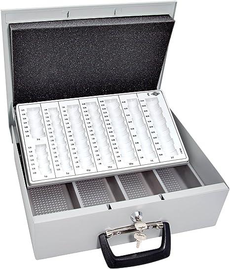 Wedo - Caja metálica para dinero (2 llaves, soporte para monedas con marcas y desprendible, 4 compartimentos para billetes, chapado en acero, 35,5 x 27,5 x 10 cm): Amazon.es: Oficina y papelería
