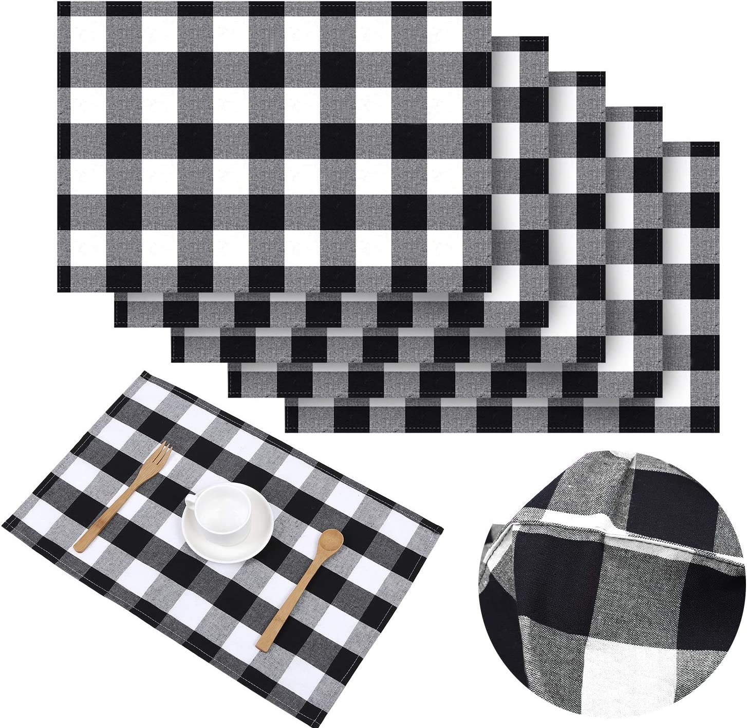 Aneco 6 Pack Buffalo Plaid Placemats Place Mats 13 x 19 Inches Checkered Double Layer Placemats Decorative Kitchen Cotton Table Placemats, Black and White