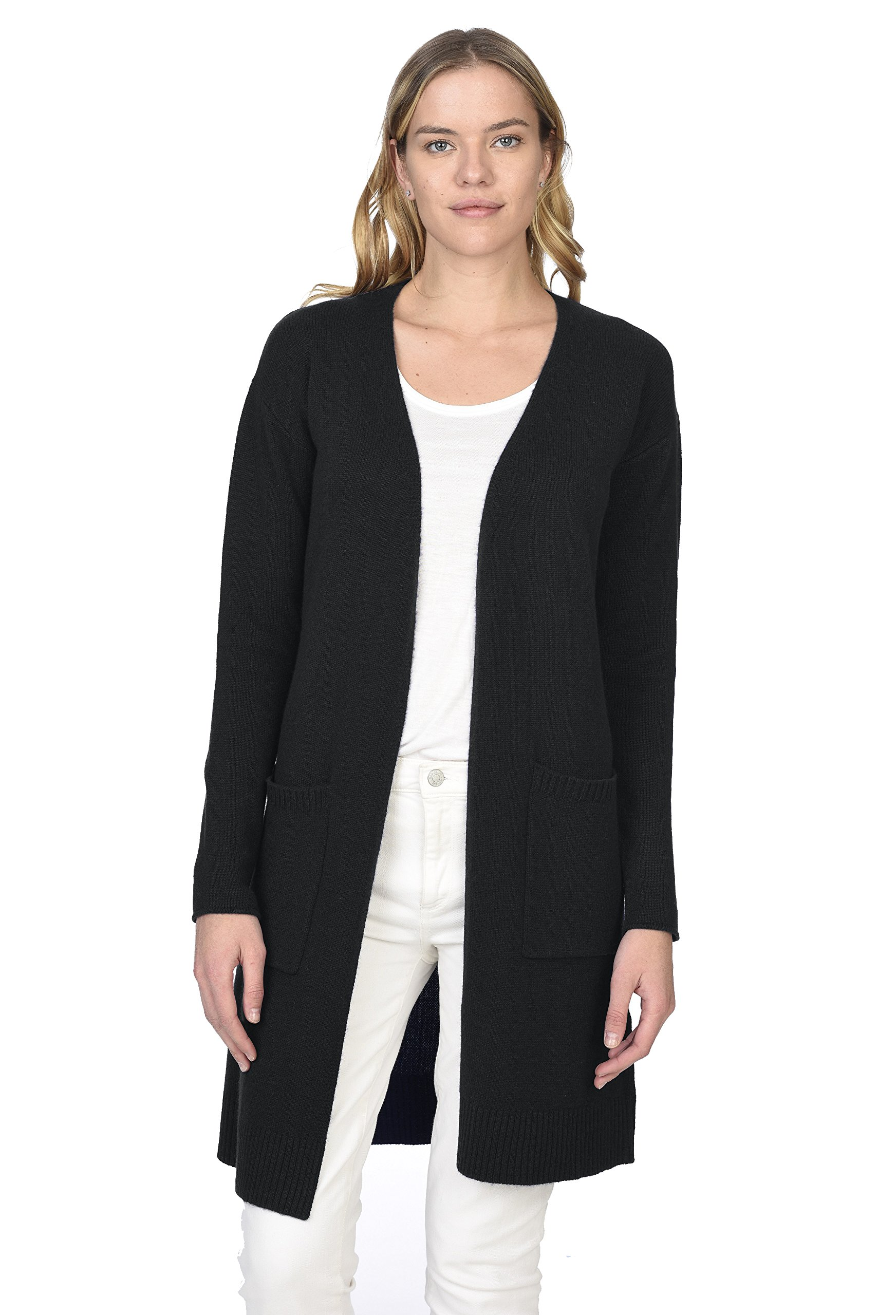 State Cashmere Women's 100% Pure Cashmere Open Front Long Cardigan, Black, Large