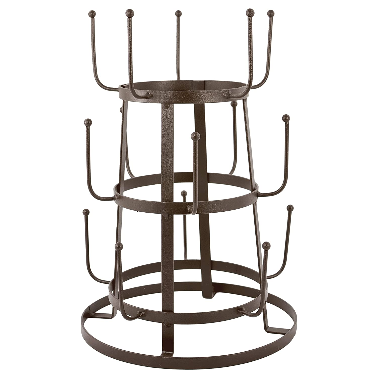 MyGift Vintage Rustic Brown Iron Mug / Cup / Glass Bottle Organizer Tree Drying Rack Stand MG-HLDR