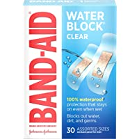 Band-Aid Brand Water Block Plus Adhesive Bandages, Waterproof in Assorted Sizes, 30 Count