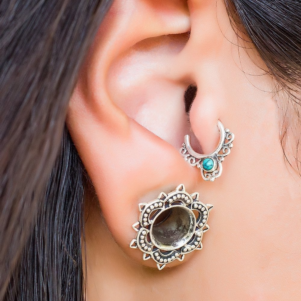 Sterling Silver Tragus Earring, Tribal Indian Hoop Ring Piercing inlaid with Turquoise Stone, fits Helix, Cartilage, Rook, 20g, Handmade Jewelry