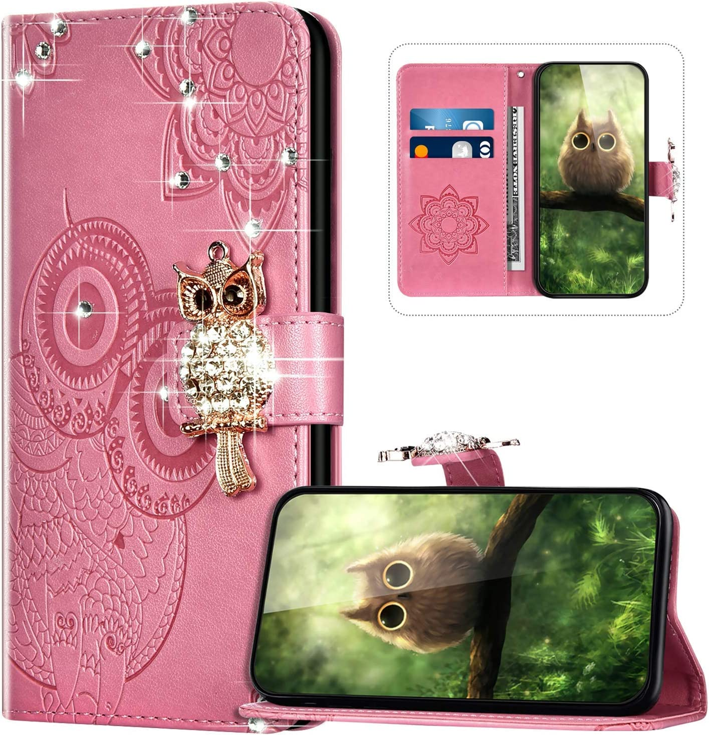 Handyh/ülle f/ür Samsung Galaxy M31 H/ülle Leder,Galaxy M31 Klapph/ülle Handytasche Bling Glitzer Diamant Eule Muster Tasche Leder Flip Case Lederh/ülle Magnetisch Wallet Schutzh/ülle,Rosa