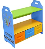 Kiddi Style Children's Sized Wooden Shelves with Three Storage Boxes