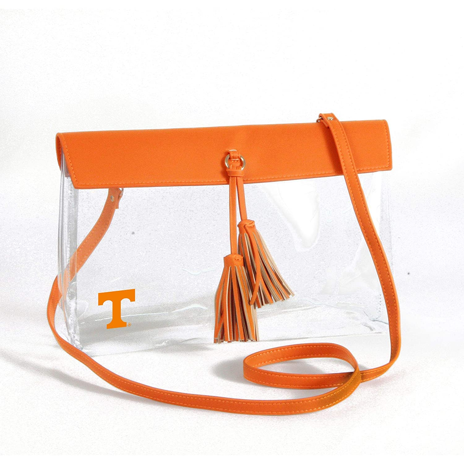Vegan Leather Trim and Tassels Desden Miami Hurricanes Clear Handbag with Logo