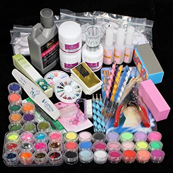 Amazon.com : 42PC Acrylic Powder Nail Art Tips Starter Kit : Nail ...