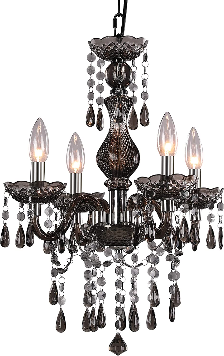 4-Light Branch Crystal Chandelier Mini Black Metal Chain Pendent Lamp Height Adjustable Acrylic Black Embedded Ceiling Lamp