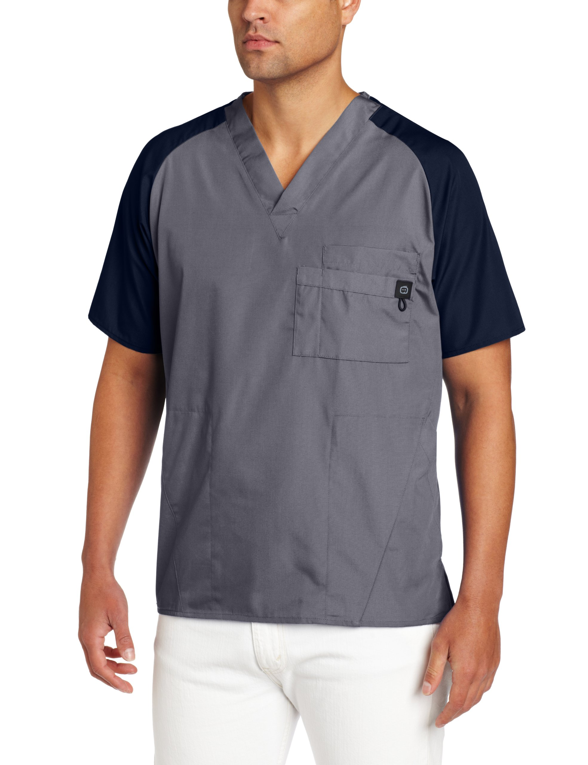WonderWink Men's Raglan Color Block 5 Pocket Scrub Top, Gray, Large