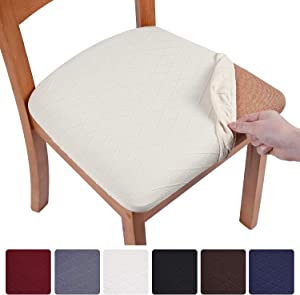 smiry Stretch Jacquard Dining Chair Seat Covers, Removable Washable Anti-Dust Upholstered Chair Seat Cover for Dining Room, Kitchen, Office (Set of 6, Beige)