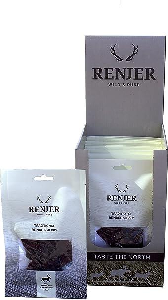 Carne seca de Reno - 10-pack - snack tradicional proveniente de Suecia, saludable y natural, 57% proteína, sin azúcar, bajo en grasas, ideal para ...