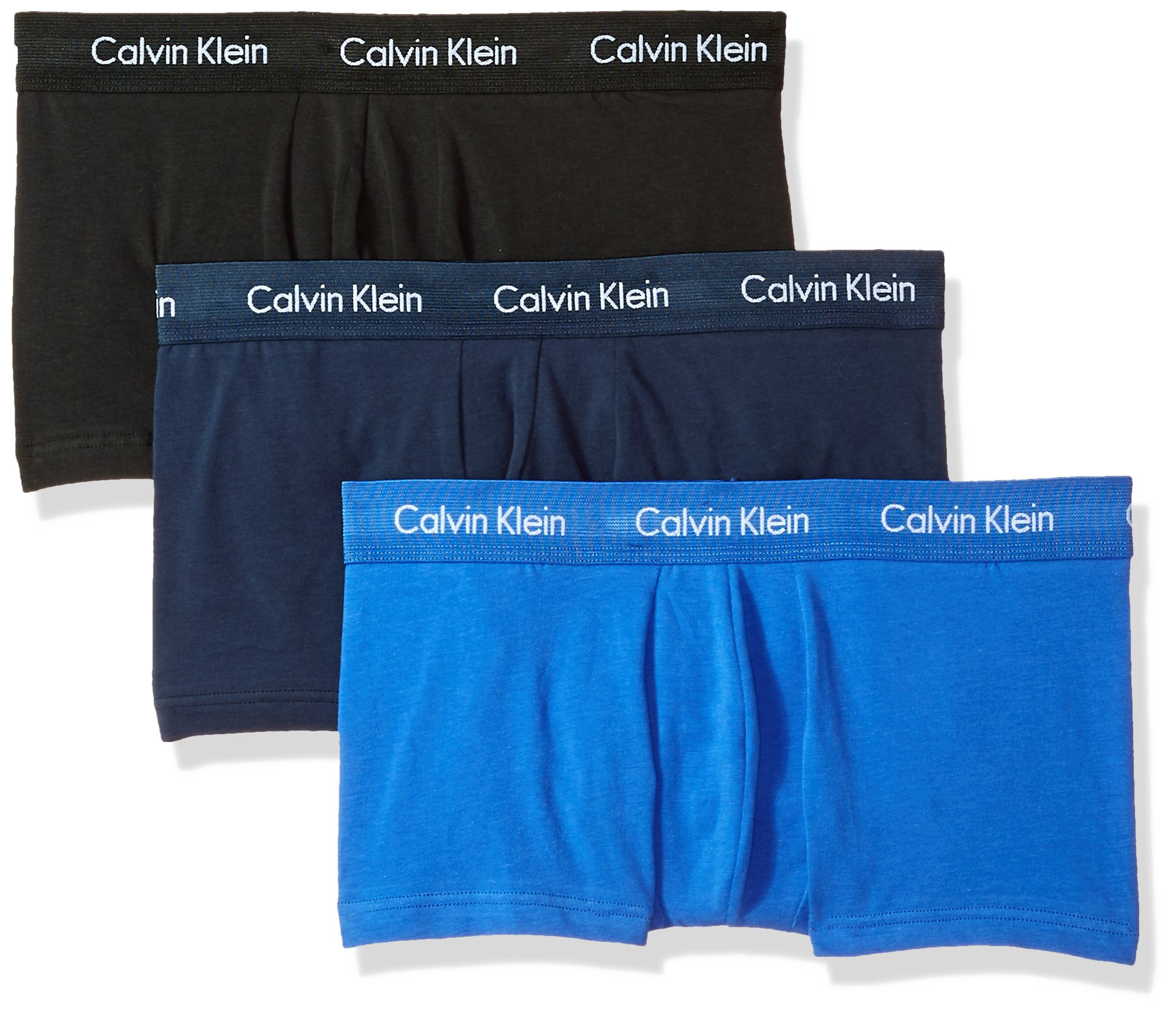 Calvin Klein Men's Cotton Stretch 3 Pack Low Rise Trunks, Black/Blue Shadow/Cobalt Water, Small