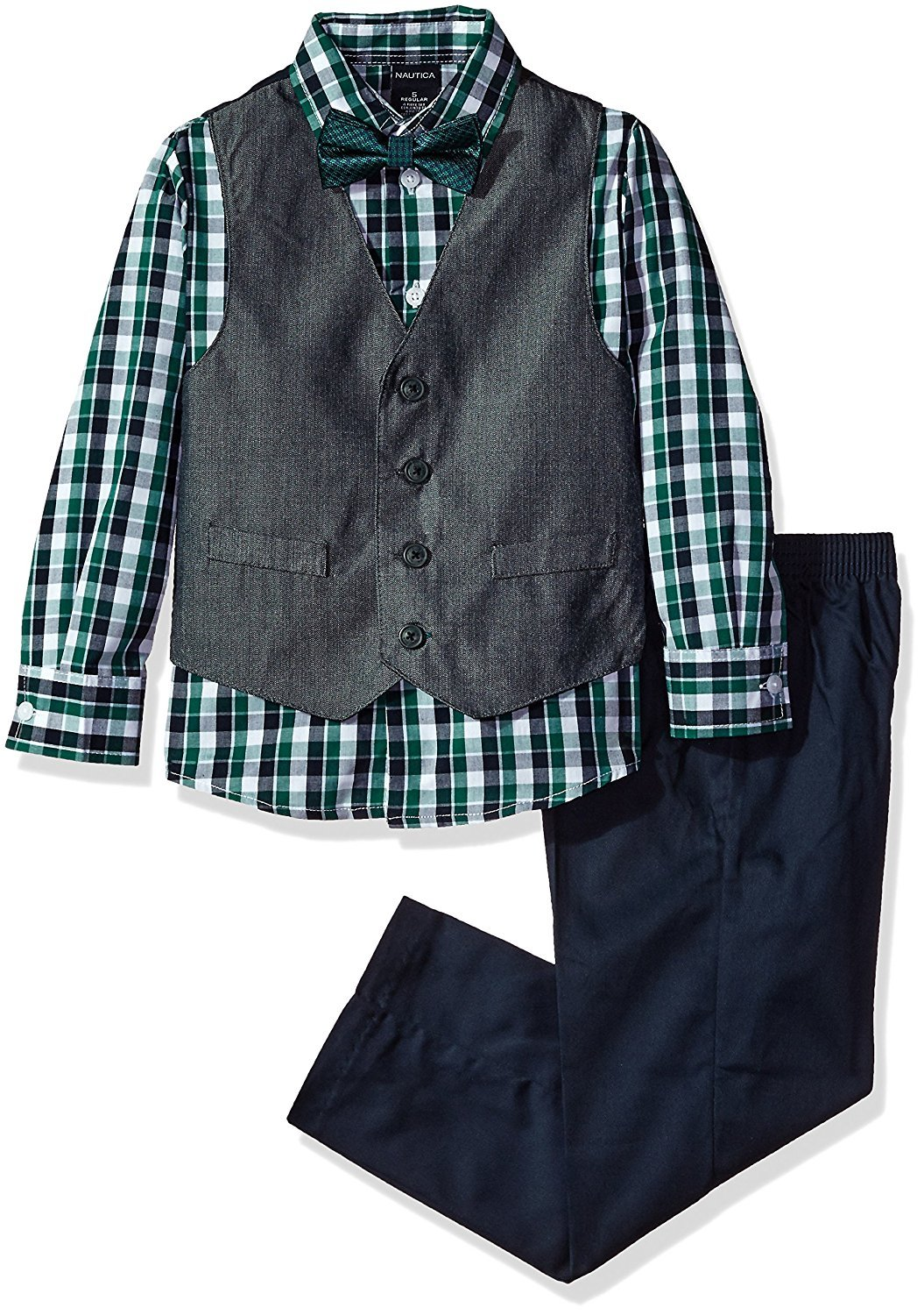 Nautica Boys' Set with Vest, Pant, Shirt, and Bow Tie, Hunter Herringbone, 7