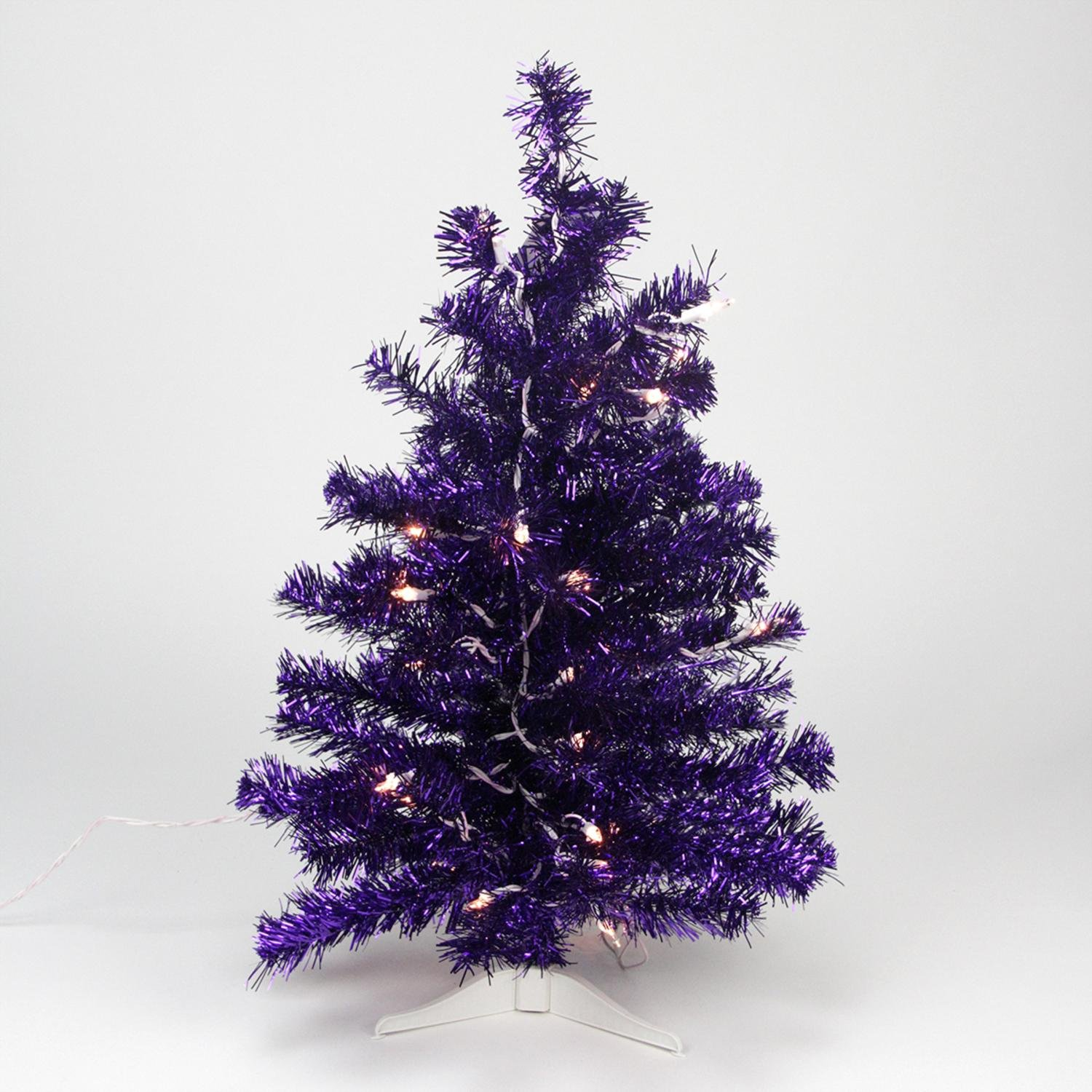 Northlight Seasonal Pre-Lit Purple Iridescent Pine Artificial Tinsel Christmas Tree with Clear Lights, 2'