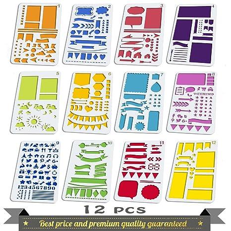 Aoyooh - Plantillas de dibujo con viñetas y juego de reglas para decorar diarios, agendas, calendarios, planificadores, cuadernos de notas ...