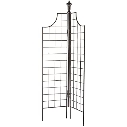 H Potter Two Panel Garden Screen Trellis Weather Resistant Wrought Iron  Large