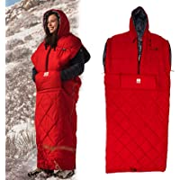Gerry 4-Season Wearable Walk-Around Sleeping Bag with Zippers, Hole for Arms and Feet (L/XL) (Red)
