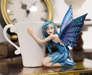 Ebros Amy Brown Warmth Comfort Blue Fairy Hugging Tea Cup Statue Garden FAE Fairies with Beverage Drink in Teacup Mug