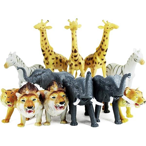 Boley 12PC Jumbo Safari Animals - Zoo Animals and Jungle Animals - Includes ...
