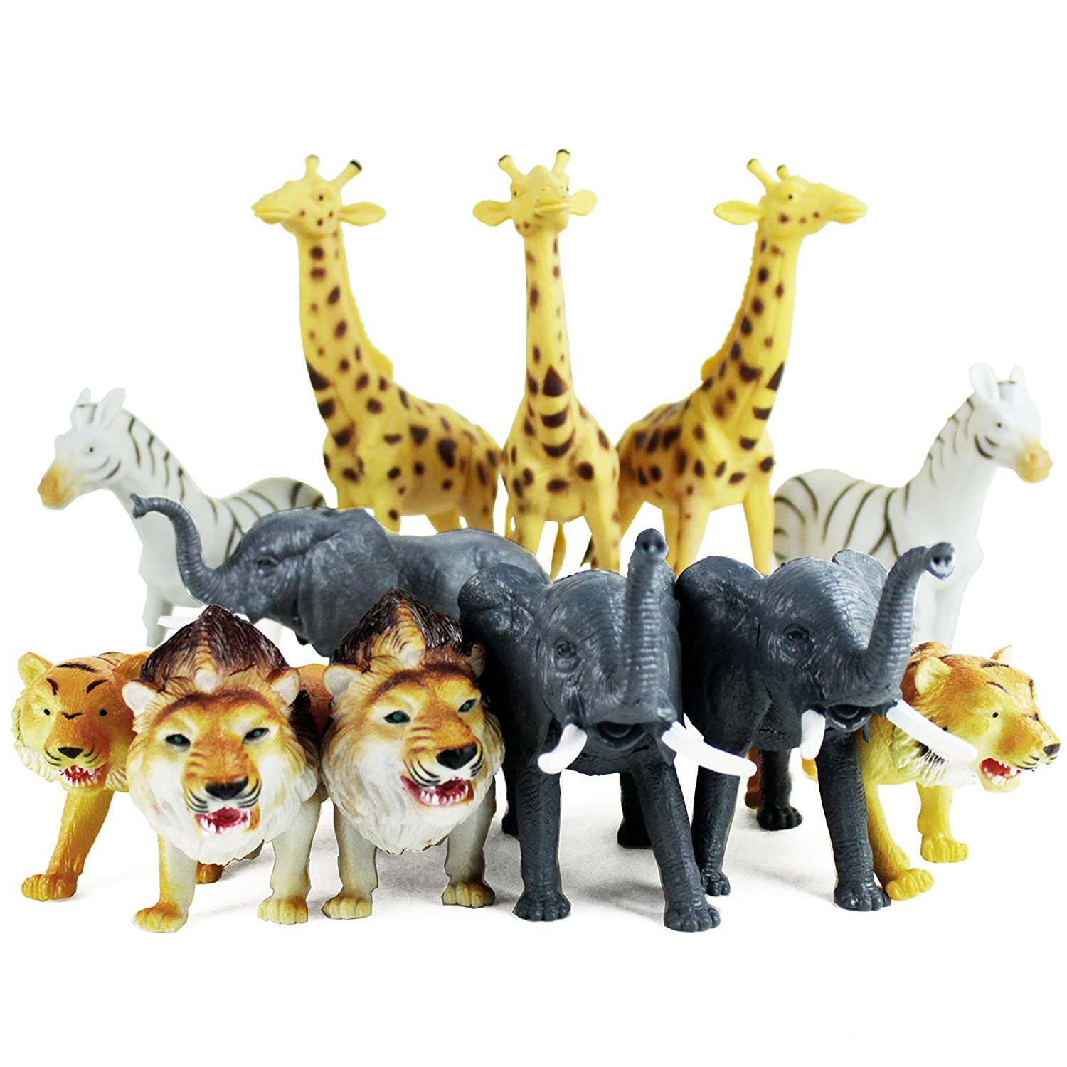 Boley 12 Piece Jumbo Safari Animals - 9 Jungle Animals and Zoo Animals - Great Educational Toy for Toddlers