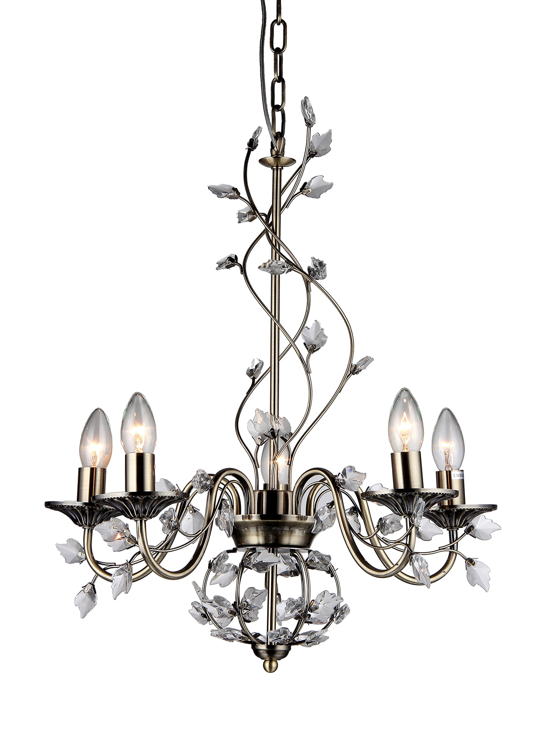 Whse of Tiffany 6702/5 Charlotte 5-Light Crystal Branches Chandelier, 20'', Bronze by Whse of Tiffany