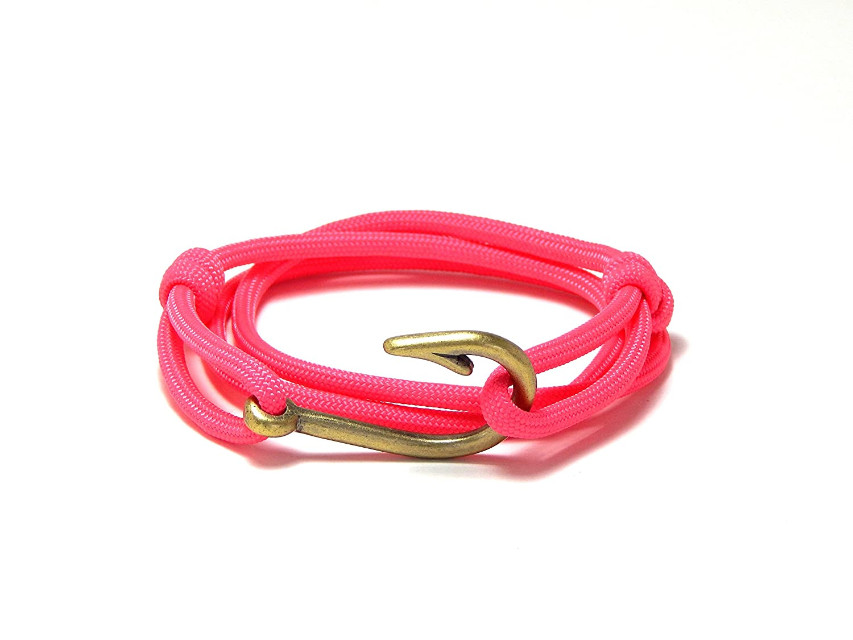 Mens Womens Nautical Fish Hook Bracelet Pink Brass Tone Fish Hook Adjustable Blue Sky Outdoor Gear 729728668681