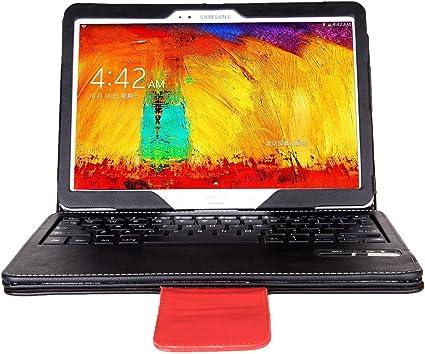 IVSO Funda de Cuero con Teclado QWERTY Bluetooth para Samsung Galaxy Note 10.1 2014 Edition Tablet