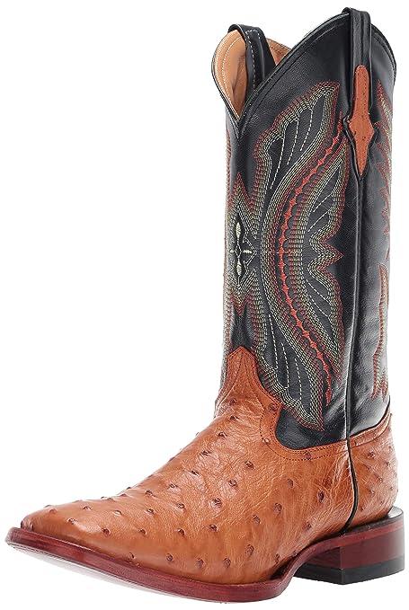 ba09063da33 Ferrini Men's Caiman Tail Blue Embroidered Cowboy Boot Square Toe