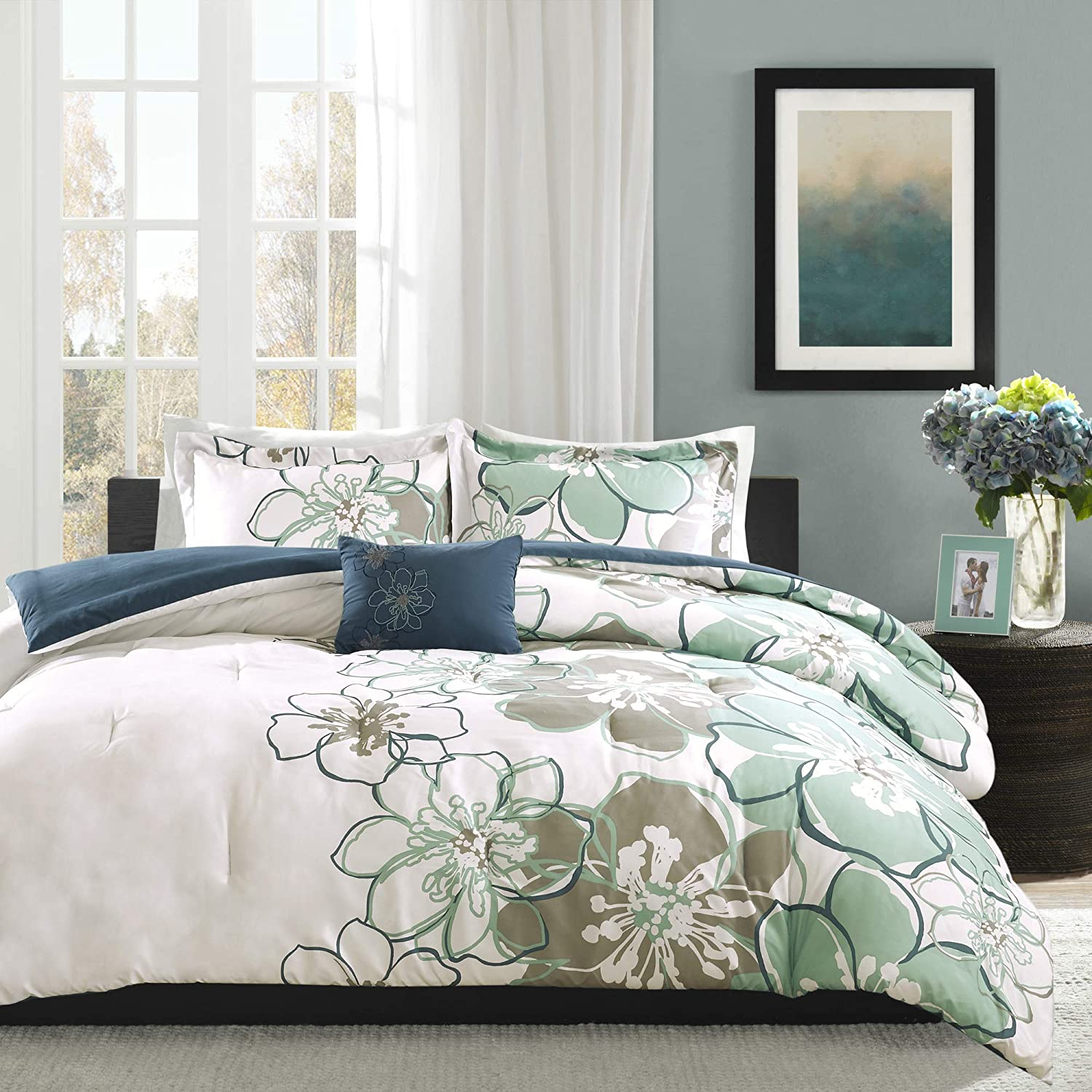 Floral Mi-Zone Allison Comforter Set Full//Queen Size 4 Piece Bed Sets Yellow Ultra Soft Microfiber Teen Bedding for Girls Bedroom Mi Zone MZ10-517 White Grey