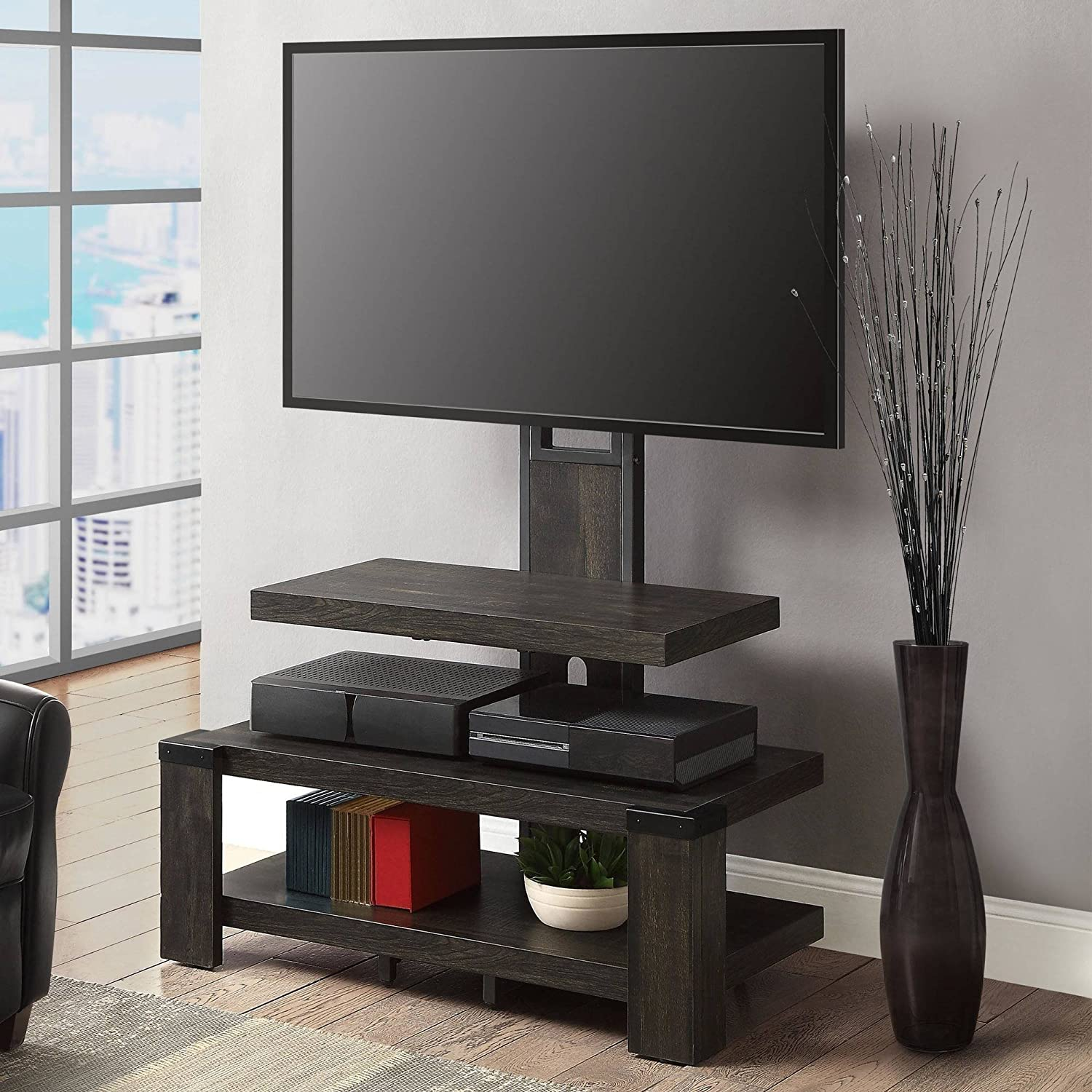 Weathered dark pine finish Whalen 3 Shelf TV Stand with Mount for TVs up to 46