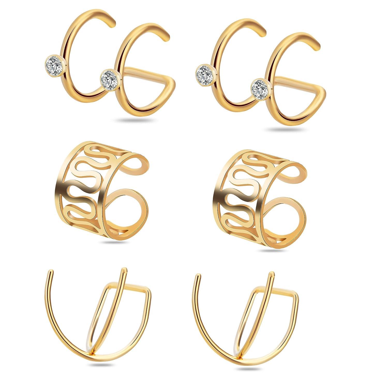 Ear Cuff,Valloey 3 Pairs Stainless Steel Zircon Cartilage Helix Hoop Non Piercing Earring Ear Clips B07FF6N9PJ_US
