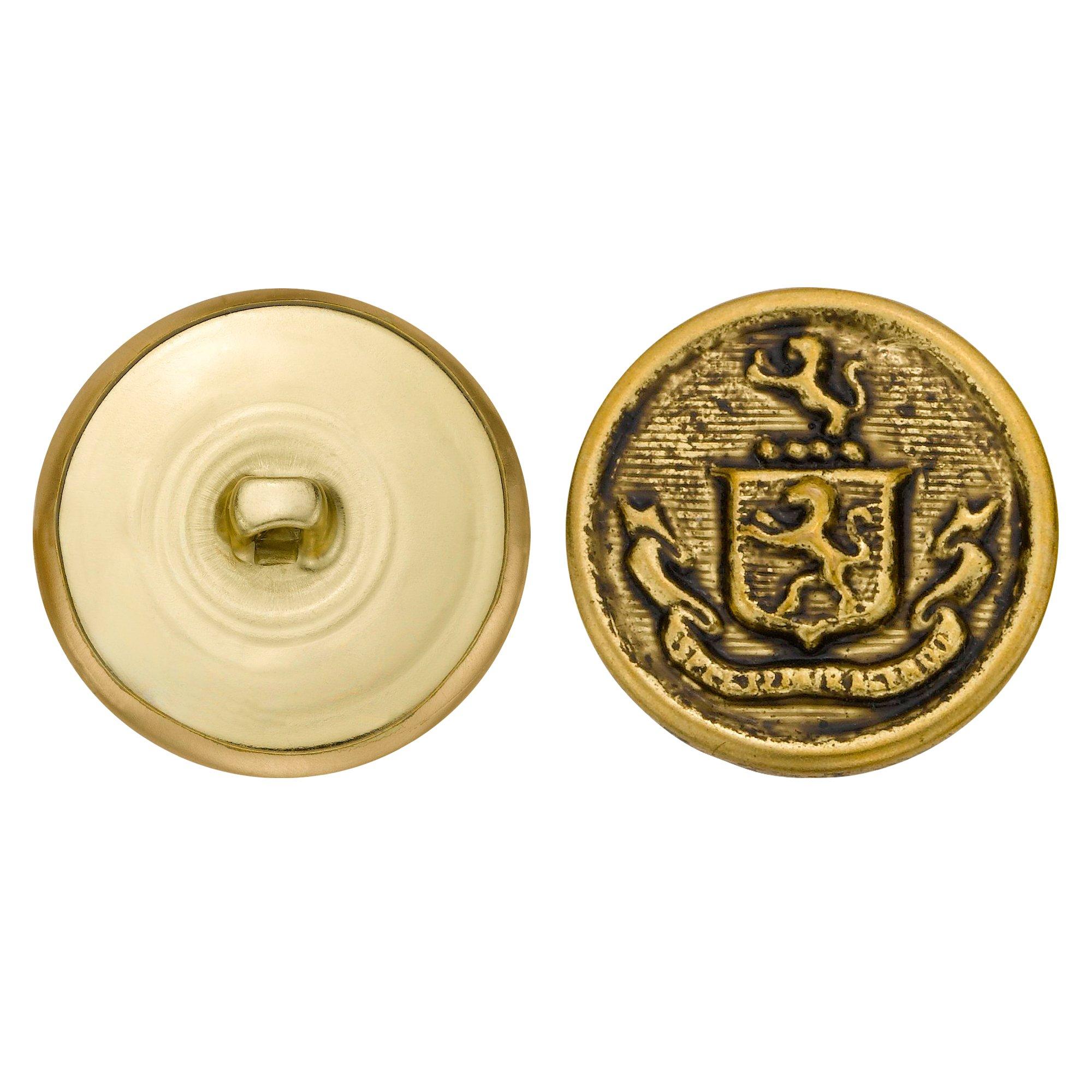 C&C Metal Products 5257 Crest Metal Button, Size 45 Ligne, Antique Gold, 36-Pack