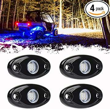 4 Pods LED Rock Light Kit for Jeep ATV SUV Offroad Car Truck Boat Underbody Glow Trail Rig Lamp Underglow LED Neon Lights Waterproof 12V 24V Blue