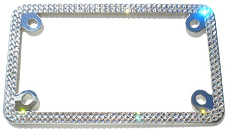 Amazon.com: Cool Blingz 2 Row MOTORCYCLE CRYSTAL License Plate Frame ...