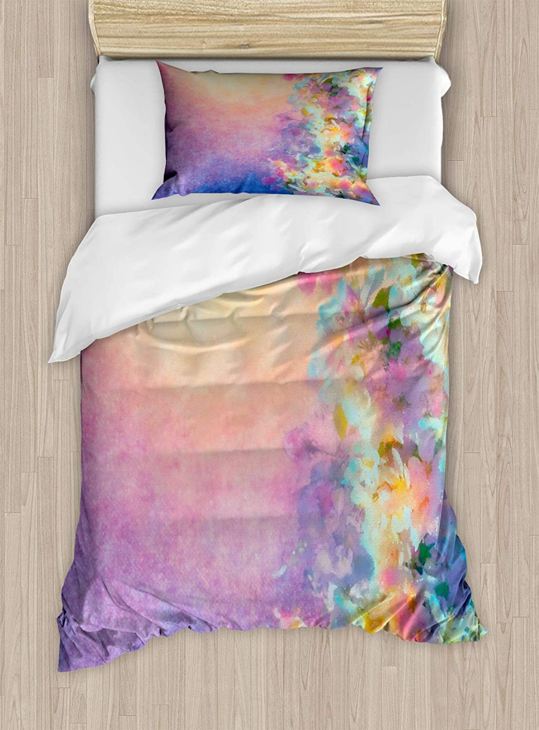 Ambesonne Purple Duvet Cover Set, Watercolor Style Effect Spring Cherry Blossom Japanese Nature Print, Decorative 2 Piece Bedding Set with 1 Pillow Sham, Twin Size, Marigold Purple