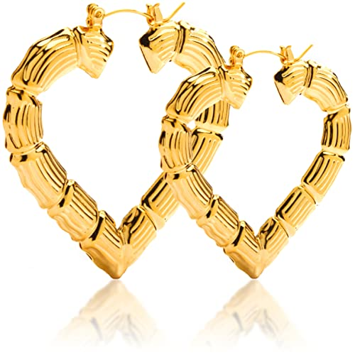 Amazon.com Gold Plated Hollow Heart Shape Bamboo Hoop Earings. 3.5 INCH (HM5) Hoop Earrings Jewelry  sc 1 st  Amazon.com & Amazon.com: Gold Plated Hollow Heart Shape Bamboo Hoop Earings. 3.5 ...