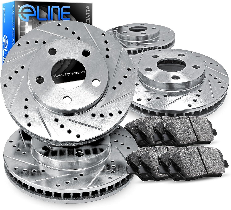 Fits Subaru Impreza Legacy Front Drill Slot Brake Rotors+Ceramic Brake Pads
