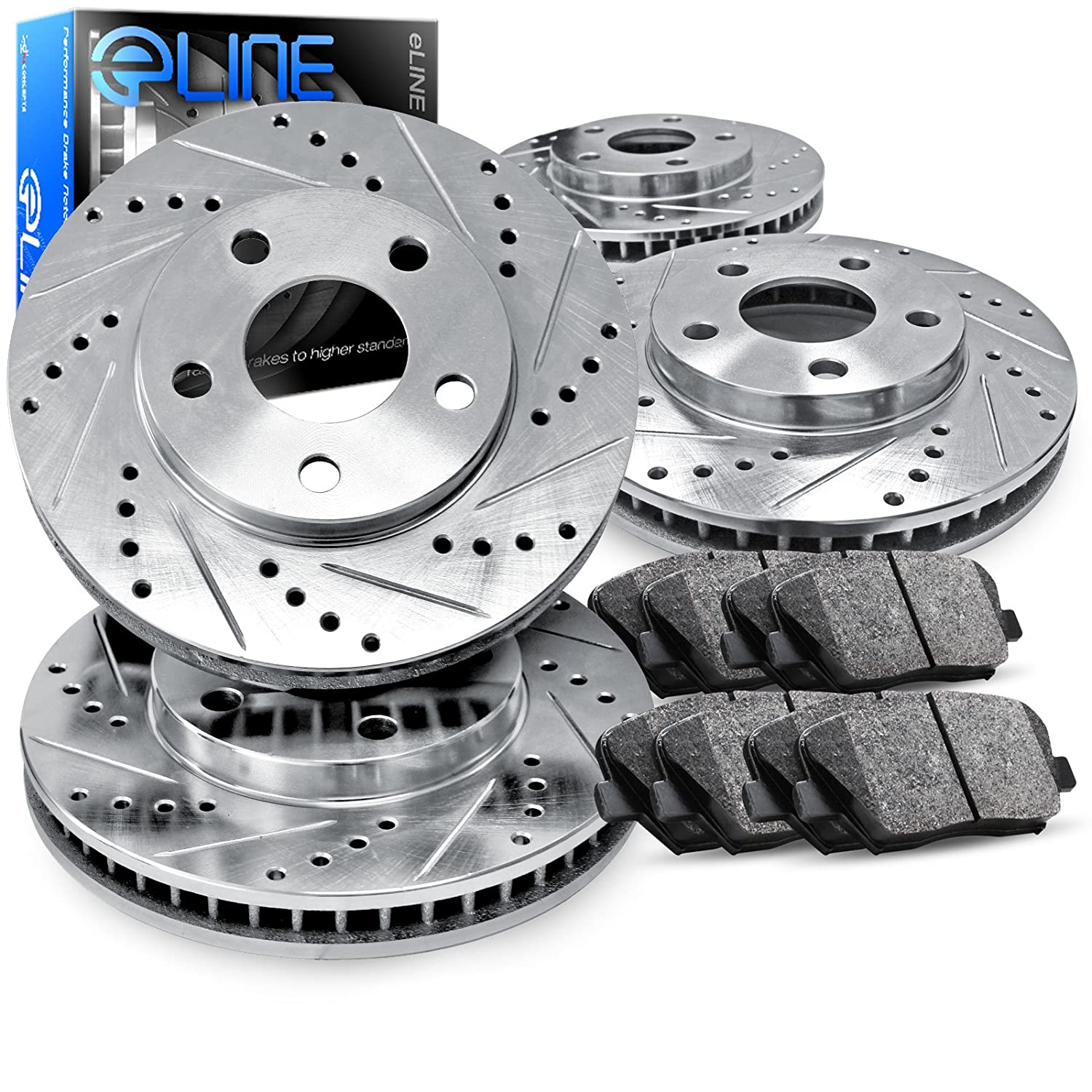 Amazon.com: 2004-2008 Acura TL Full Kit eLine Drilled Slotted Brake Rotors  & Ceramic Pads: Automotive