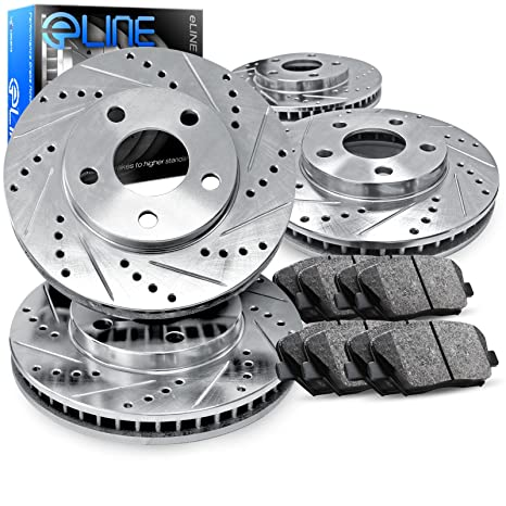 For Land Rover Discovery Front Rear Black Drill Slot Brake Rotors+Ceramic Pads